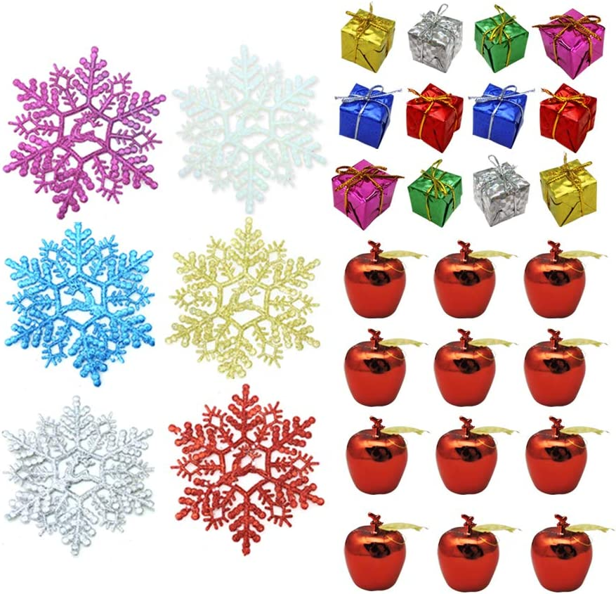 WishLotus Christmas Tree Ornaments 30PCS Pack, Christmas Decorations Red Apples Christmas Small Cubes and Glitter Snowflakes for Christmas and New Year