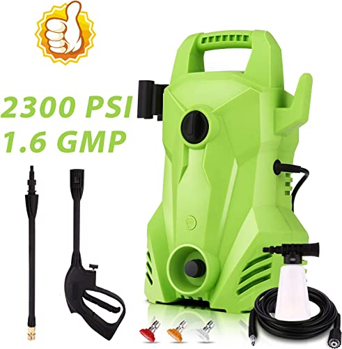 Homdox Electric Pressure Washer 2300 PSI, 1400W 1.6 GPM Portable Electric Power Washer with 3 Quick-Connect Spray Tips