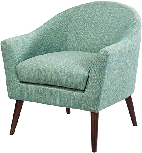 Madison Park Grayson Accent Chairs – Hardwood, Birch, Textured Fabric Living Room Chairs – Pale Green, Modern Classic Style Living Room Sofa Furniture – 1 Piece Rounded Back Bedroom Chairs Seats