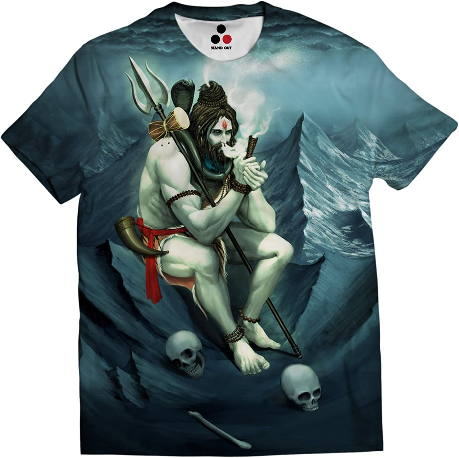 Stand Out Lord Shiva Smoking Weed From Chillum Full Coverage All Over Printed Adiyogi Isha Blue Color Unisex T Shirt Amazon Com