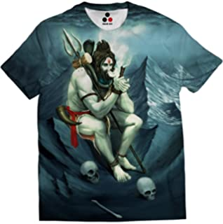 e46cee4d STAND OUT Men's Poly Cotton Lord Shiva Smoking Weed in Chillum Dry Fit  Round Neck T