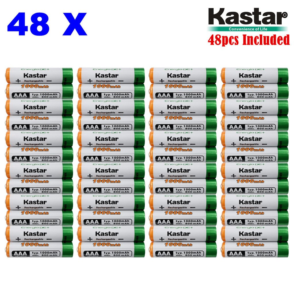 Kastar AAA 48-Pack Ni-MH 1000mAh Super High-Capacity Rechargeable Battery Pre-Charged for Panasonic HHR-4DPA HHR-55AAABU HHR-65AAABU, Out Solar Light, Solar Spinner, Garden Light, Path Light, Remote