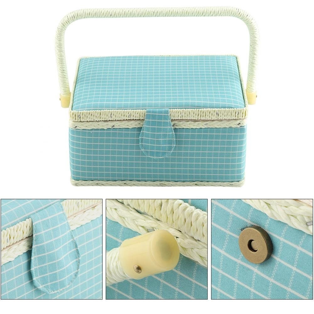 Pink Sewing Box,Colorful Dot Fabric Craft Handmade Storage Box Sewing Basket 24x17.5x13cm with Handle