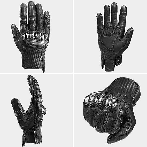 INBIKE Guanti da Moto in Pelle Resisitente Protettivo Traspirante e Impermeabile Touchscreen Per Uomo IM19820