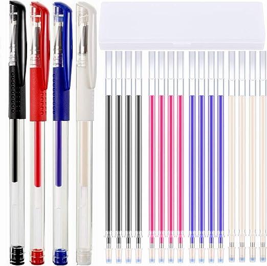 Bolígrafo Borrable de Calor Rotulador Borrable de Tela con 16 recargas y caja de plástico para los sastres tela que acolcha confección de costura para diferentes colores de las telas de cuero:
