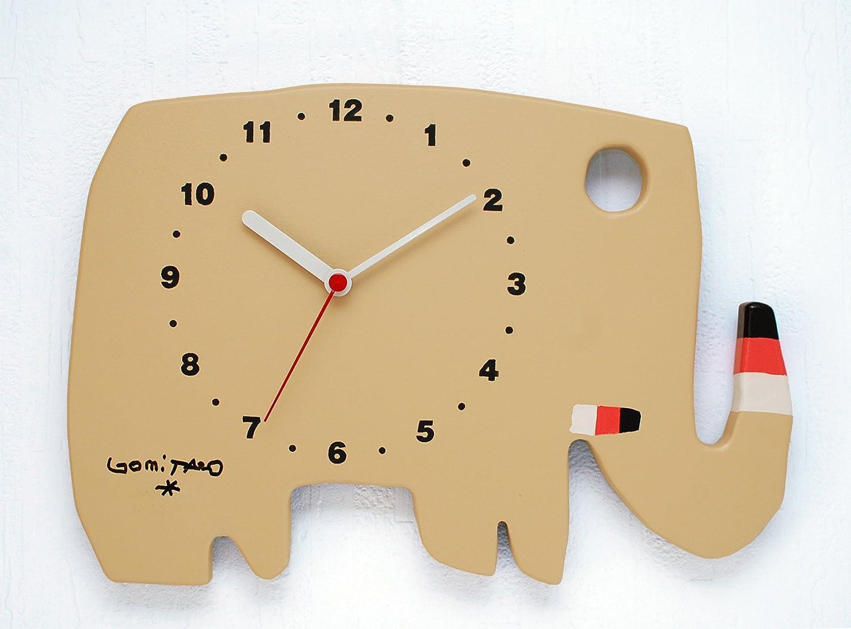 【直筆サイン入り】人気絵本作家 五味太郎デザイン 掛け時計 ゾウ(モカ)※限定500台 B00IU9HE4I