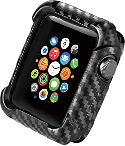 Apple Watch Case 38mm Series 3 Series 2 Carbon Fiber Protective Heavy Duty Case with Soft TPU Bumper Case for iWatch 38mm Series 3 Series 2