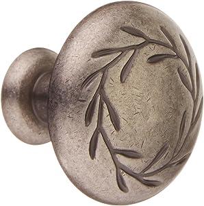 "Amerock BP1581-WN Inspirations Leaf Weathered Nickel Cabinet Hardware Knob - 1-1/4"" Diameter, 10 Pack"