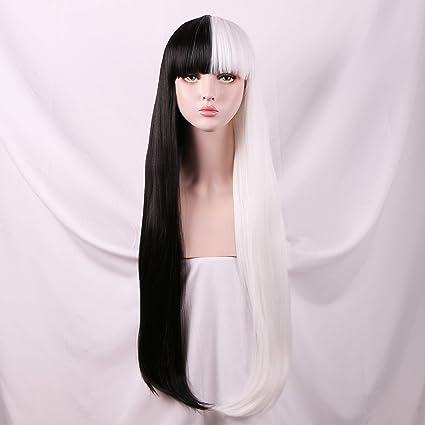 Sinranin Long Straight Half Black Half White Wig With Bang For Women Amazon Co Uk Beauty