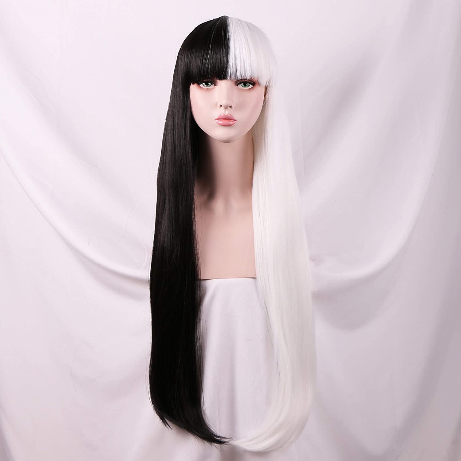0c02b23cfeb Yilys Women's Long Straight Half white Half Black Wig With Bangs Halloween  Cosplay Party Hair(about 32Inch)