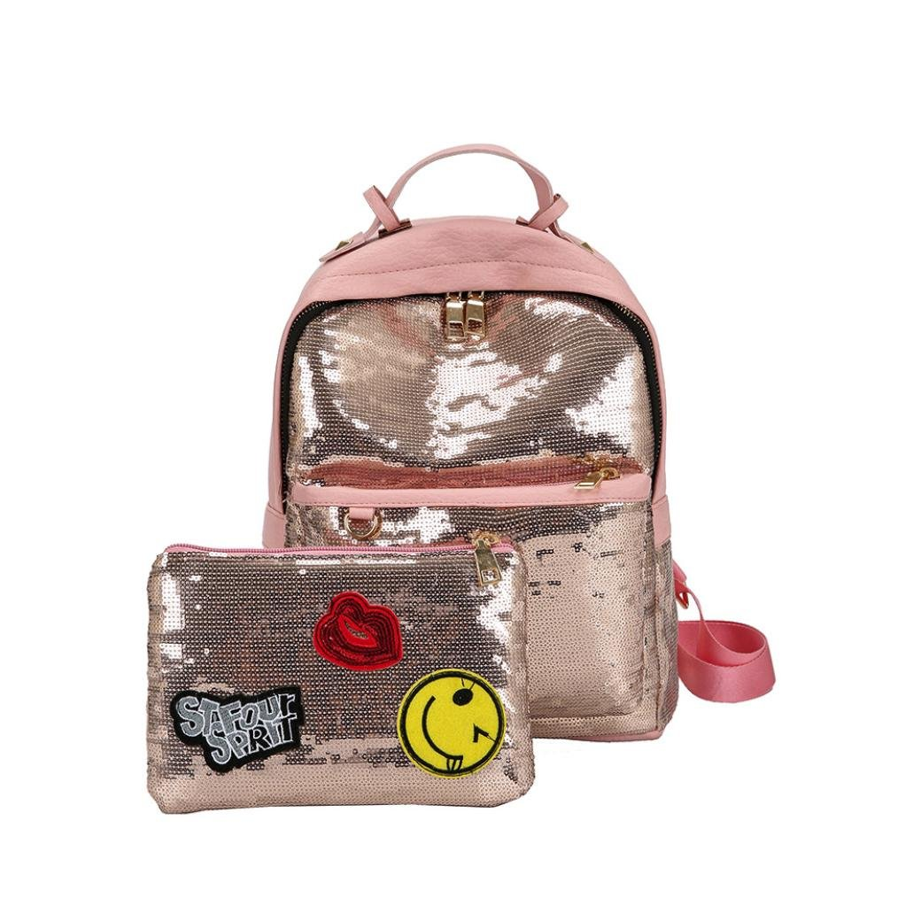 a548b4c8da hot sale 2017 Fashion Bling Sequins PU Leather Backpack School Bags Backpack  +Handbag Purse Set