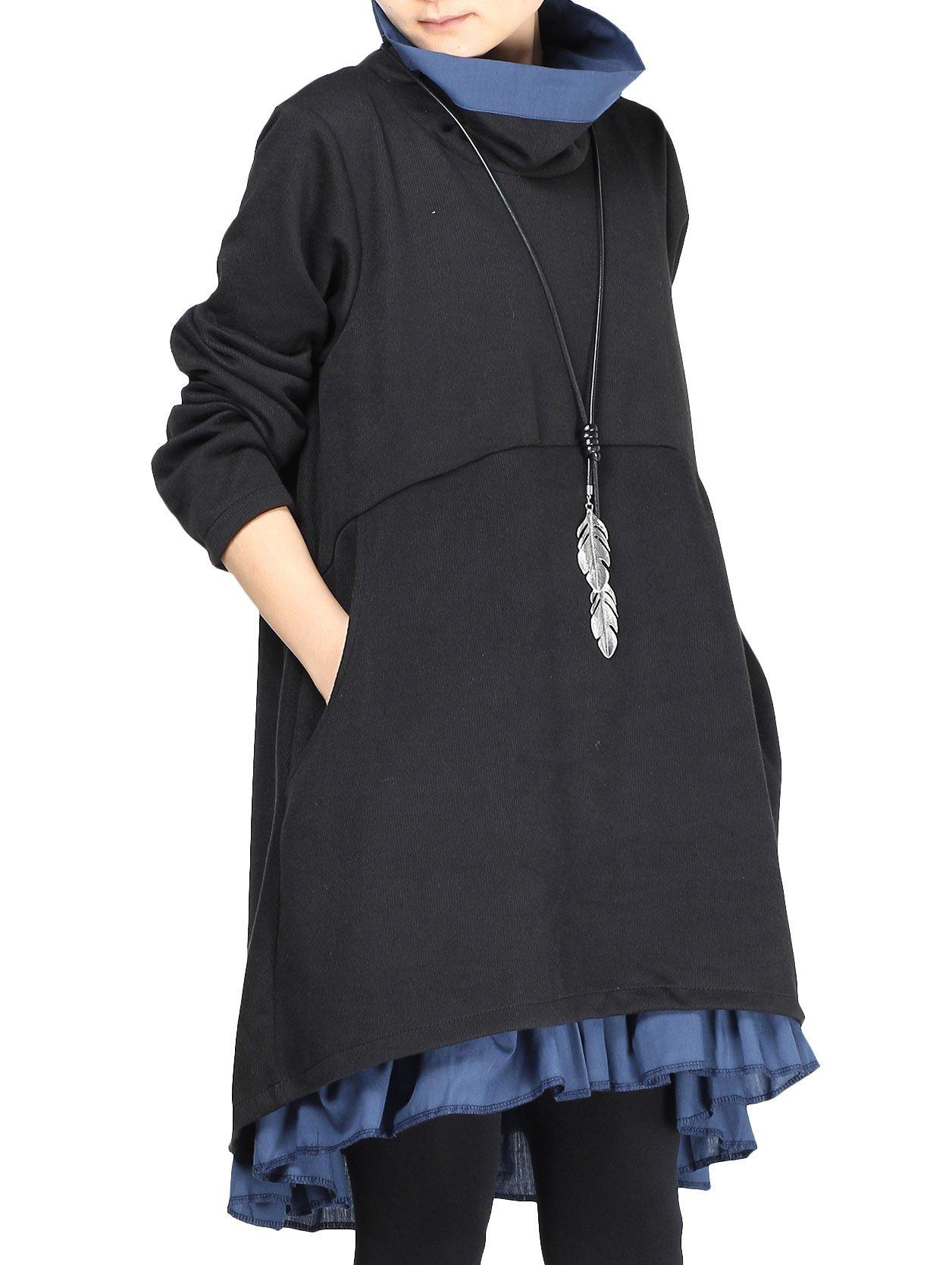 Mordenmiss Women's New Turtle Neckline Two Layers Hi-low Hem Dress L Black