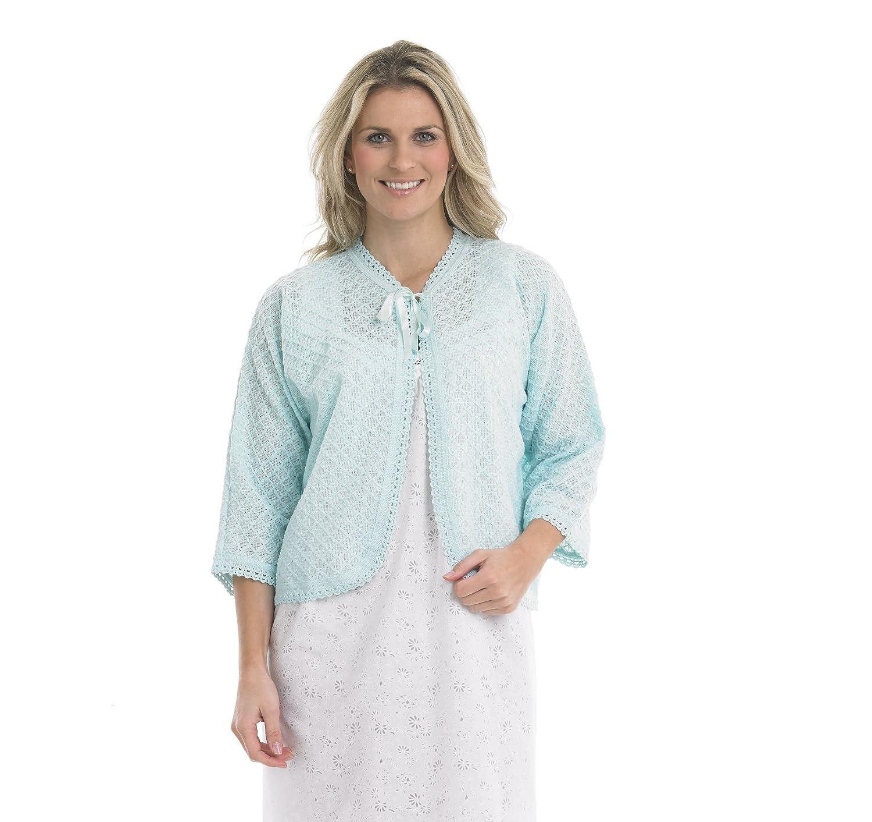 Slenderella Ladies 100% Acrylic Lightweight Bed Jacket Diamond Pattern Cardigan with Crochet Trim (Mint Green)