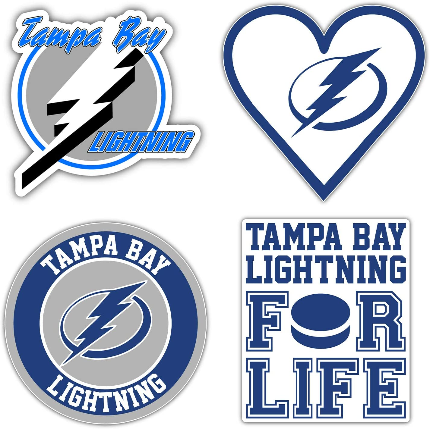 "Tampa Bay City Lightnings Hockey Die-Cut Sticker - Set of 4 Decals 5"" Longer Side"