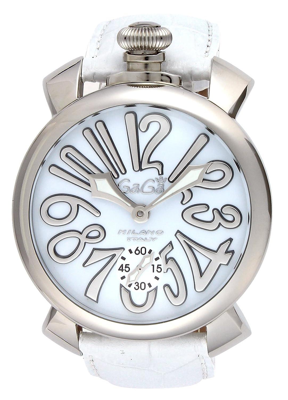 [ガガミラノ]GaGa MILANO 腕時計 マニュアーレ48mm ホワイト文字盤カーフ革ベルト 手巻き スイス製 5010.10S-WHT メンズ 【並行輸入品】 B00DDFA4HS