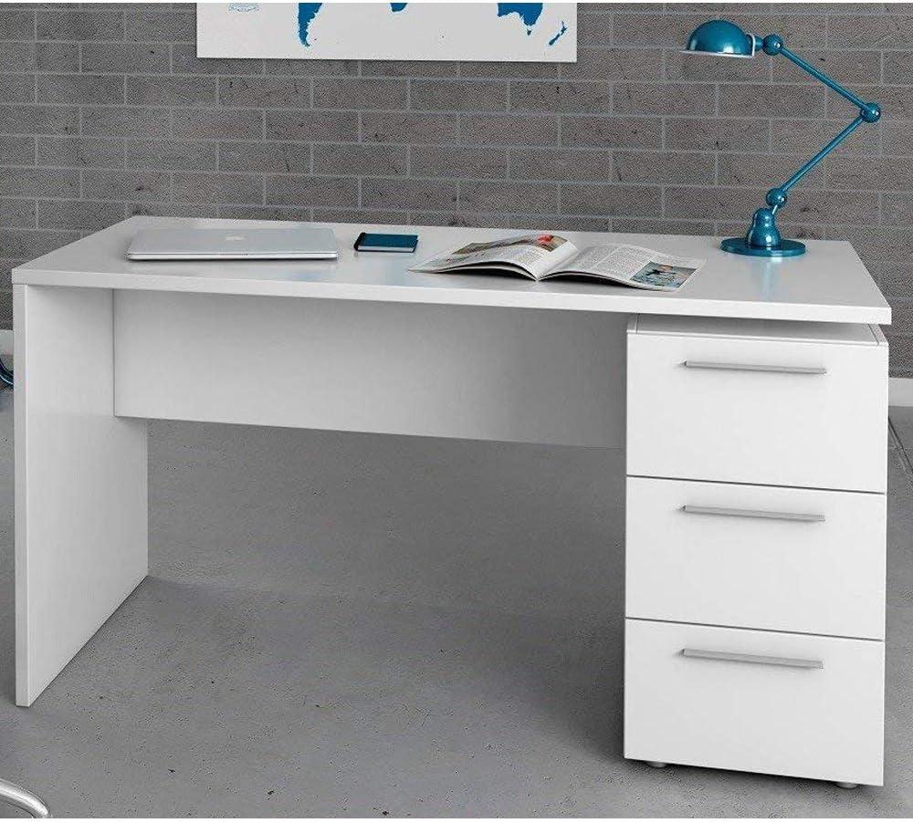 HABITMOBEL Escritorio, Despacho con 3 cajones, Color Blanco Brillo ...