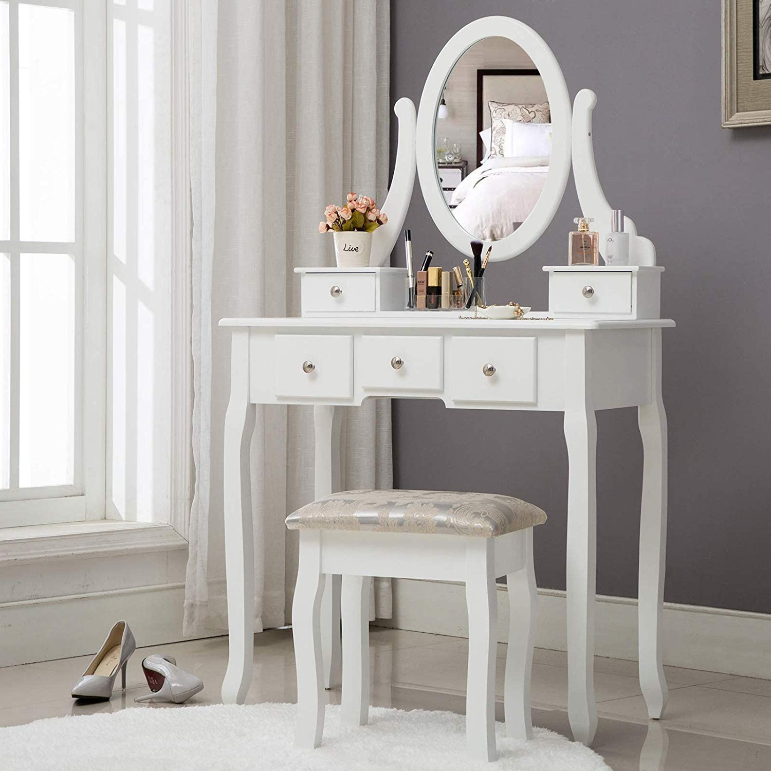 Unihome Vanity Table White Dressing Table with Mirror and 5 Drawers Small Makeup Table with Stool for Women