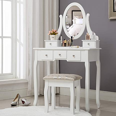 Unihome Makeup Vanity Table White Dressing Table with Mirror Cushioned  Stool Makeup Desk Vanity Table with Drawers for Women