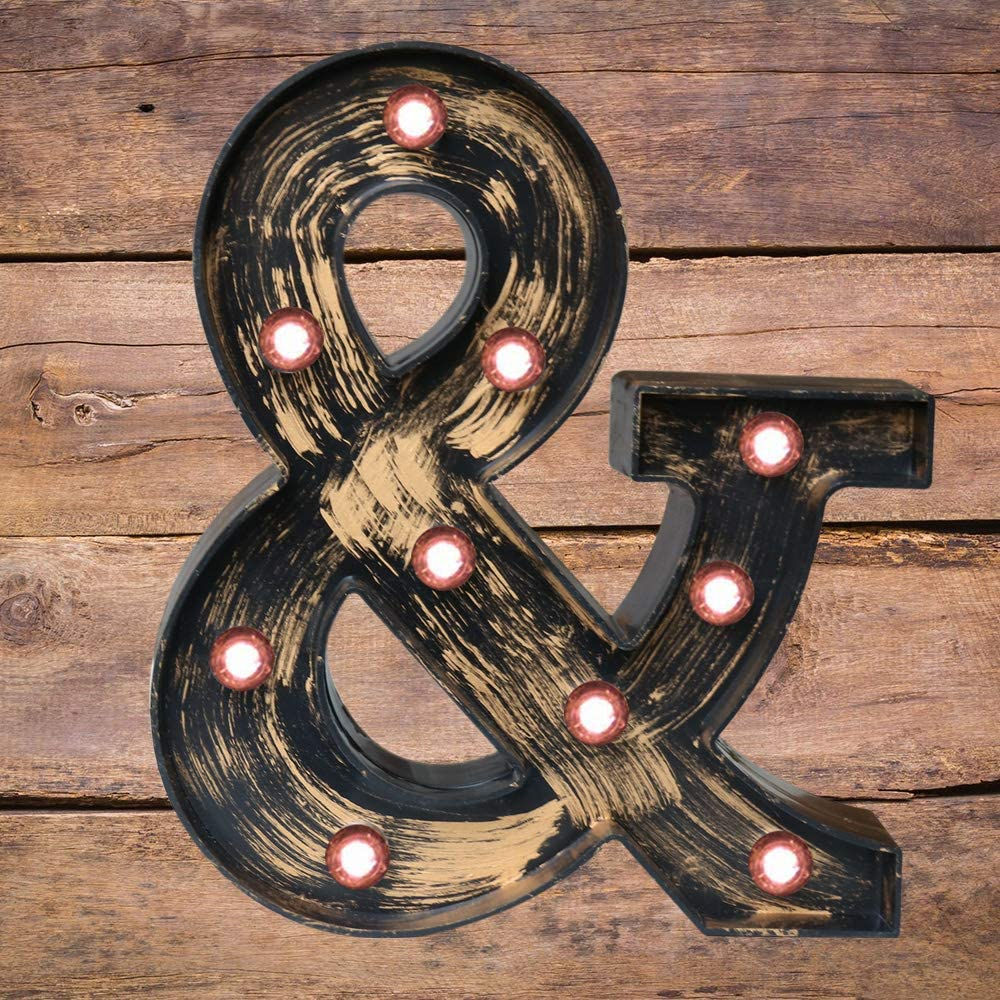 Vintage Style Light Up Alphabet Letter Sign for Cafe Wedding Birthday Party Christmas Lamp Home Bar Initials Decor L Industrial Golden Black Led Marquee Letter