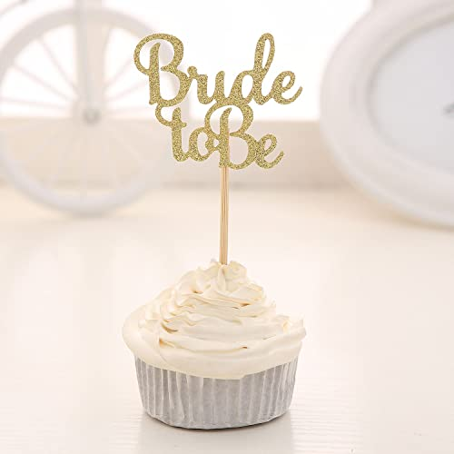 24 pcs gold glitter bride to be cupcake toppers wedding bridal shower decors