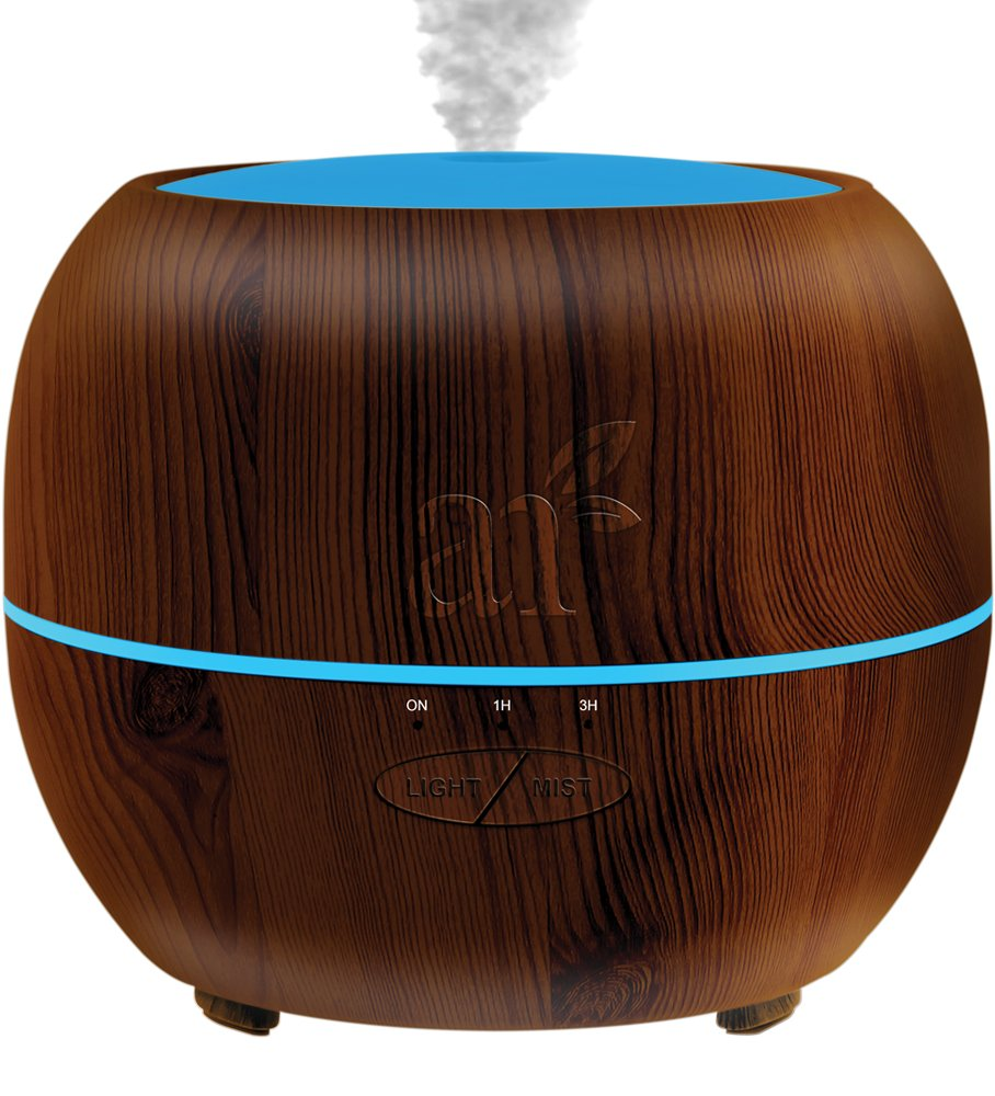 ArtNaturals Aromatherapy Essential Oil Diffuser - (Dark Wood - 150 ml Tank) - Ultrasonic Aroma Humidifier - Mist Mode, Auto Shut-Off and 7 Color LED Lights - For Home, Office, Bedroom and Baby