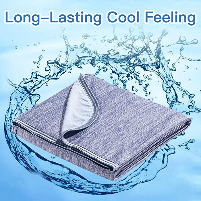 "Marchpower Cooling Blanket, Latest Cool-to-Touch Technology, Lightweight Cool Blanket for Sleeping Night Sweats, Breathable Cotton Summer Cool Blanket for Couch Sofa Bed (Blue, Full, 78"" X 86"")"