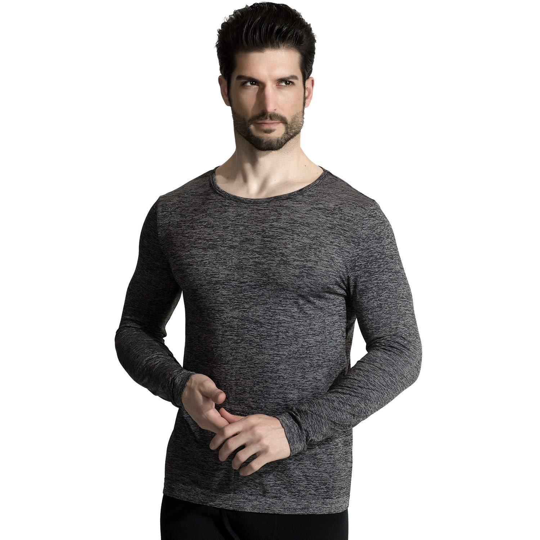 M-D Men's Seamless Wool Crew Neck Long Sleeve T-Shirt Thermal Underwear Shirt Base Layer Top Dark Grey XL by M-D