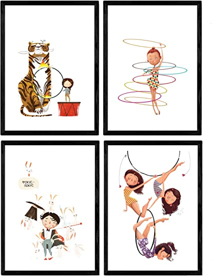 Nacnic Posters con Ilustraciones del Circo. Leon Acobata Mago ...