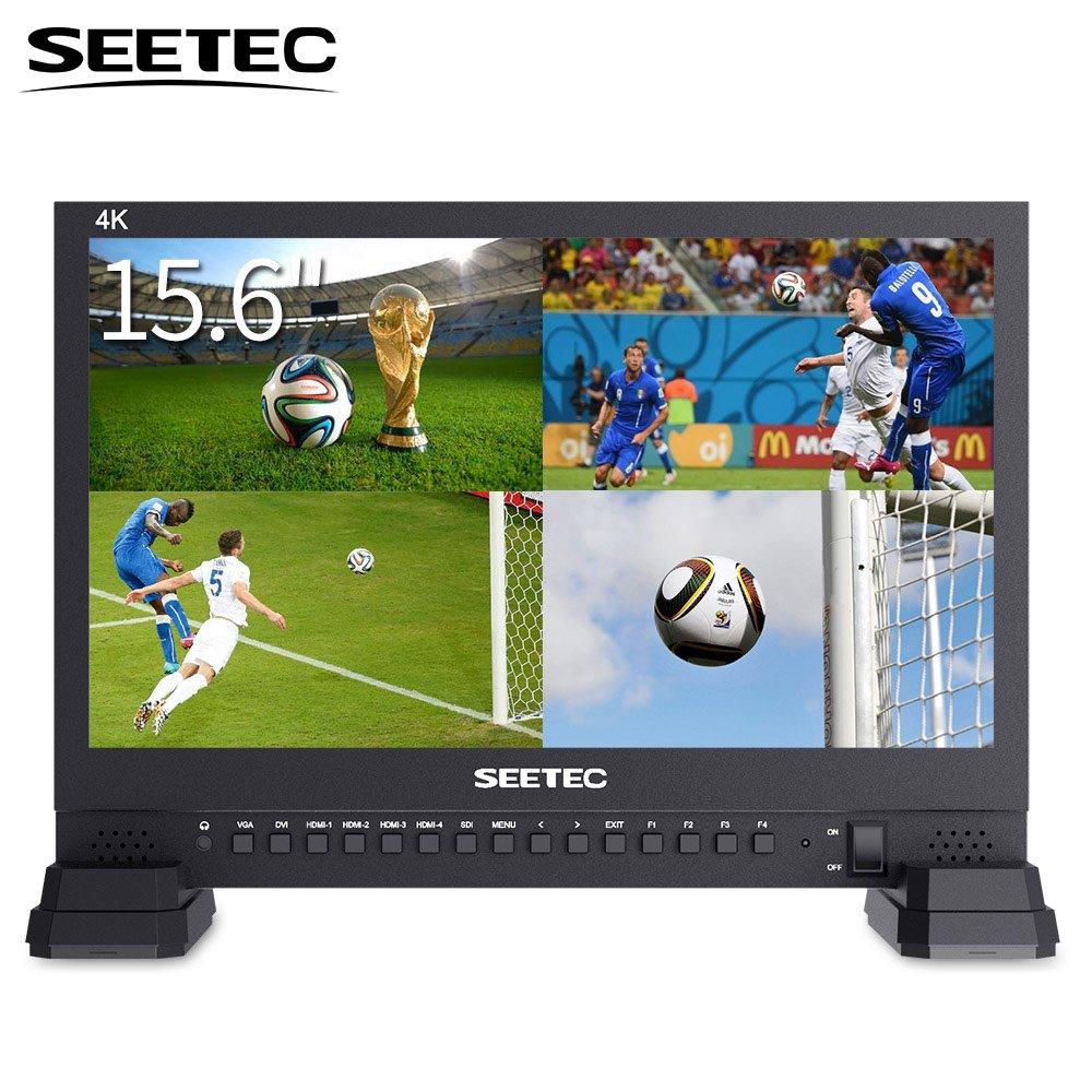 SEETEC 4K156-9HSD 15.6 Inch 3G SDI Broadcast Studio Video Monitor 4K 3840x2160 UHD IPS LCD 4x4K HDMI Quad Split Display VGA DVI for Professional Live Event Post Production Director Film Camera Field
