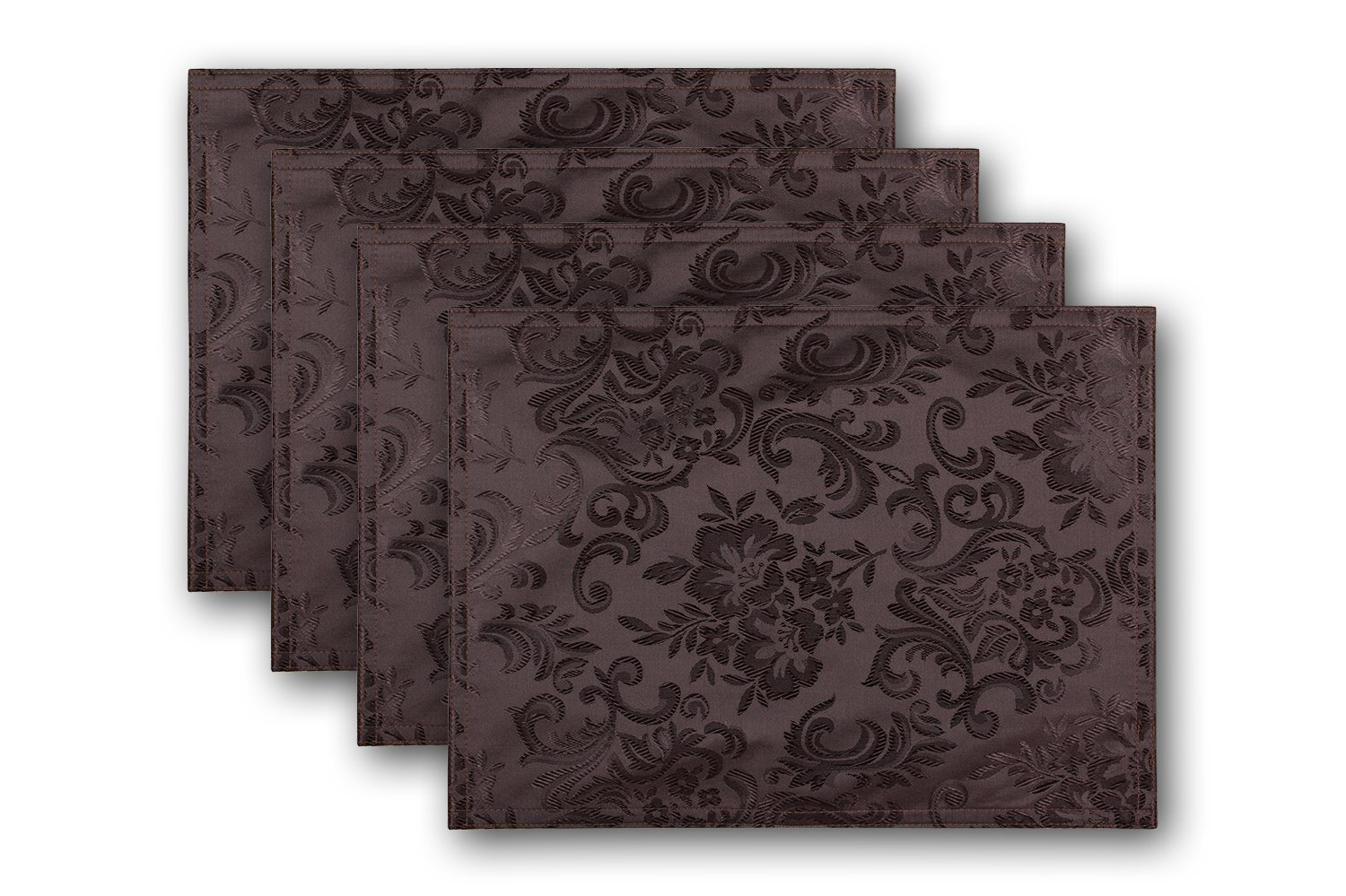 Christmas Tablescape Décor - Euphoria reversible coffee brown floral design - Set of 4