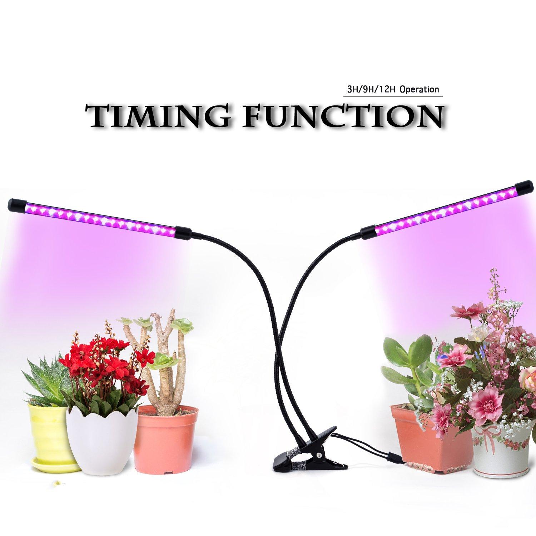 GUGUO Pflanzenlicht Wachstumslampe Pflanzenlampe||18W 40-LEDs(26 Rote, 14 Blaue)||Dimmbar 9 Lichtstärken||mit Klemmhalterung||3 Timing-Modi(3H/9H/12H)||360° Schwanenhals||für Büro, Haus||USB-Adapter