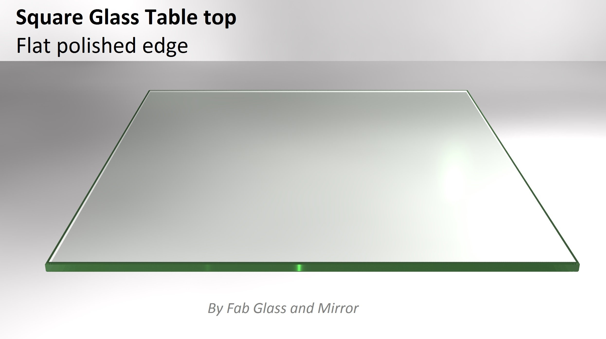 24'' Inch Square Clear Glass Table Top 1/4'' Thick Flat Polished Tempered Eased Corners by Fab Glass and Mirror