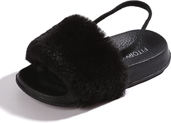 FITORY Girls Sandals Toddler, Faux Fur