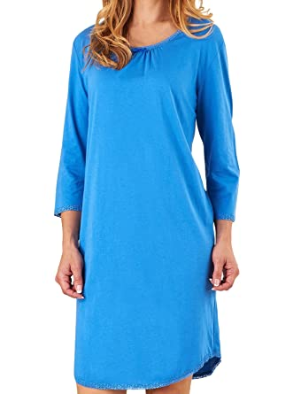 999d2966fb Slenderella Ladies 100% Jersey Cotton Plain Nightdress 3 4 Sleeved Lace  Trim Nightie (Blue or Pink)  Amazon.co.uk  Clothing