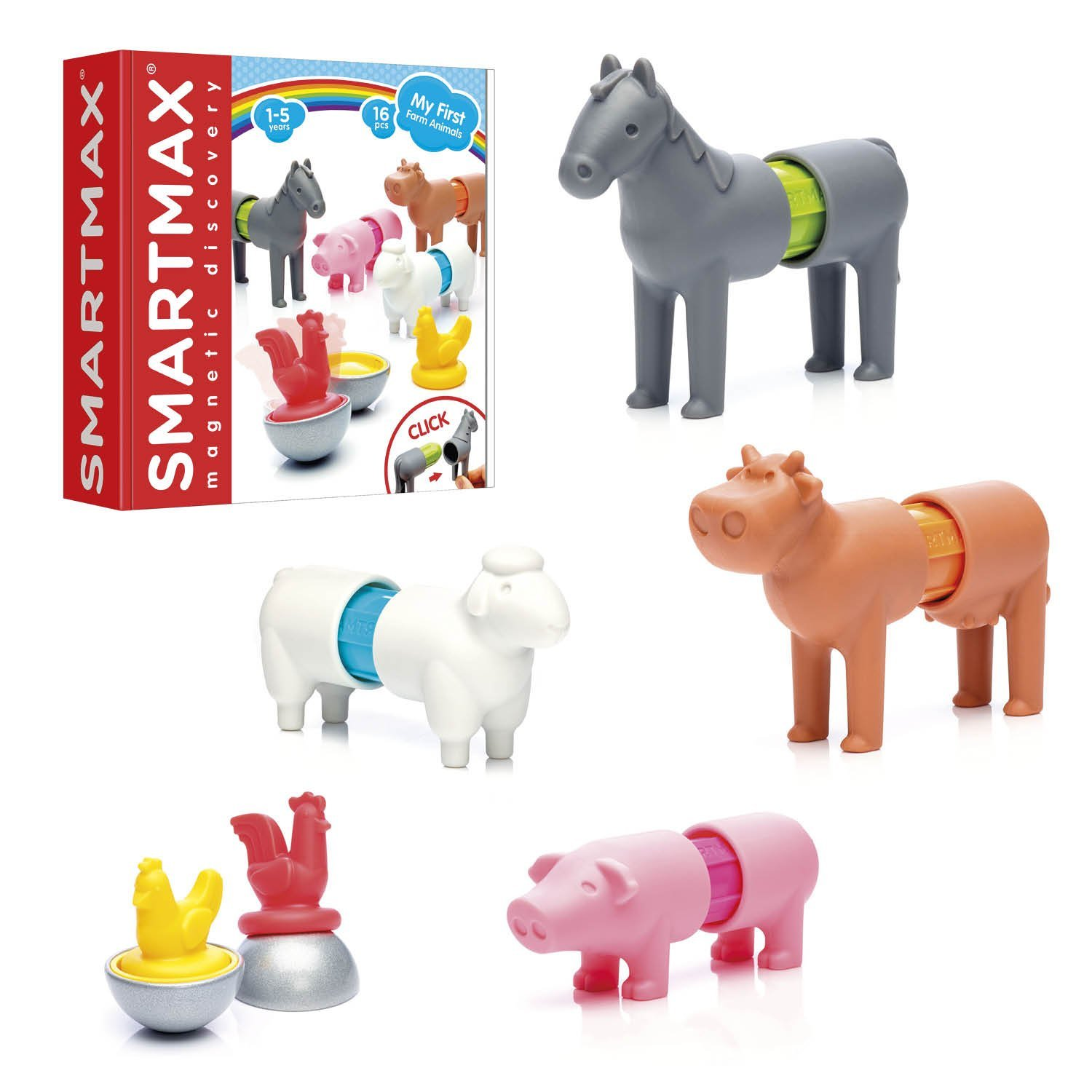 SmartMax My First Farm Animals STEM Magnetic Discovery Building Set with Soft Animals for Ages 1-5