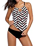 Memory baby Women's Strappy Banded Printed Tankini Top with Triangle Briefs Swimsuit