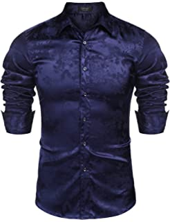 ff832871 COOFANDY Mens Floral Rose Printed Long Sleeve Dress Shirts Prom Wedding Party  Button Down Shirts