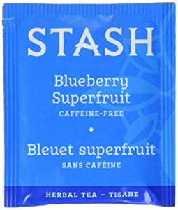 Stash Tea Blueberry Superfruit Herbal Tea 100 Count Tea Bags in Foil (packaging may vary) Individual Herbal Tea Bags for Use in Teapots Mugs or Cups, Brew Hot Tea or Iced Tea