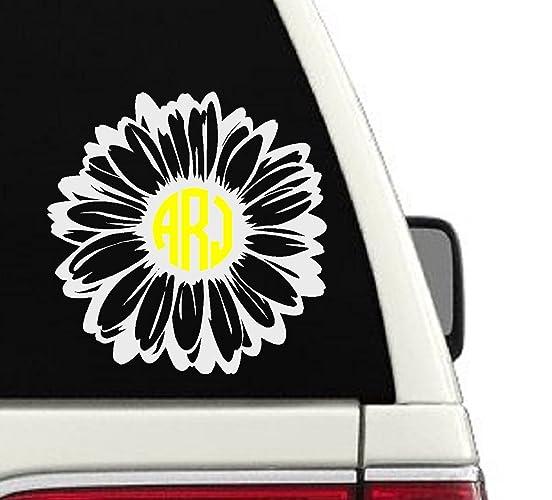 Amazoncom Daisy Flower Monogram Custom Car Decal Sticker X - Monogram car decal amazon