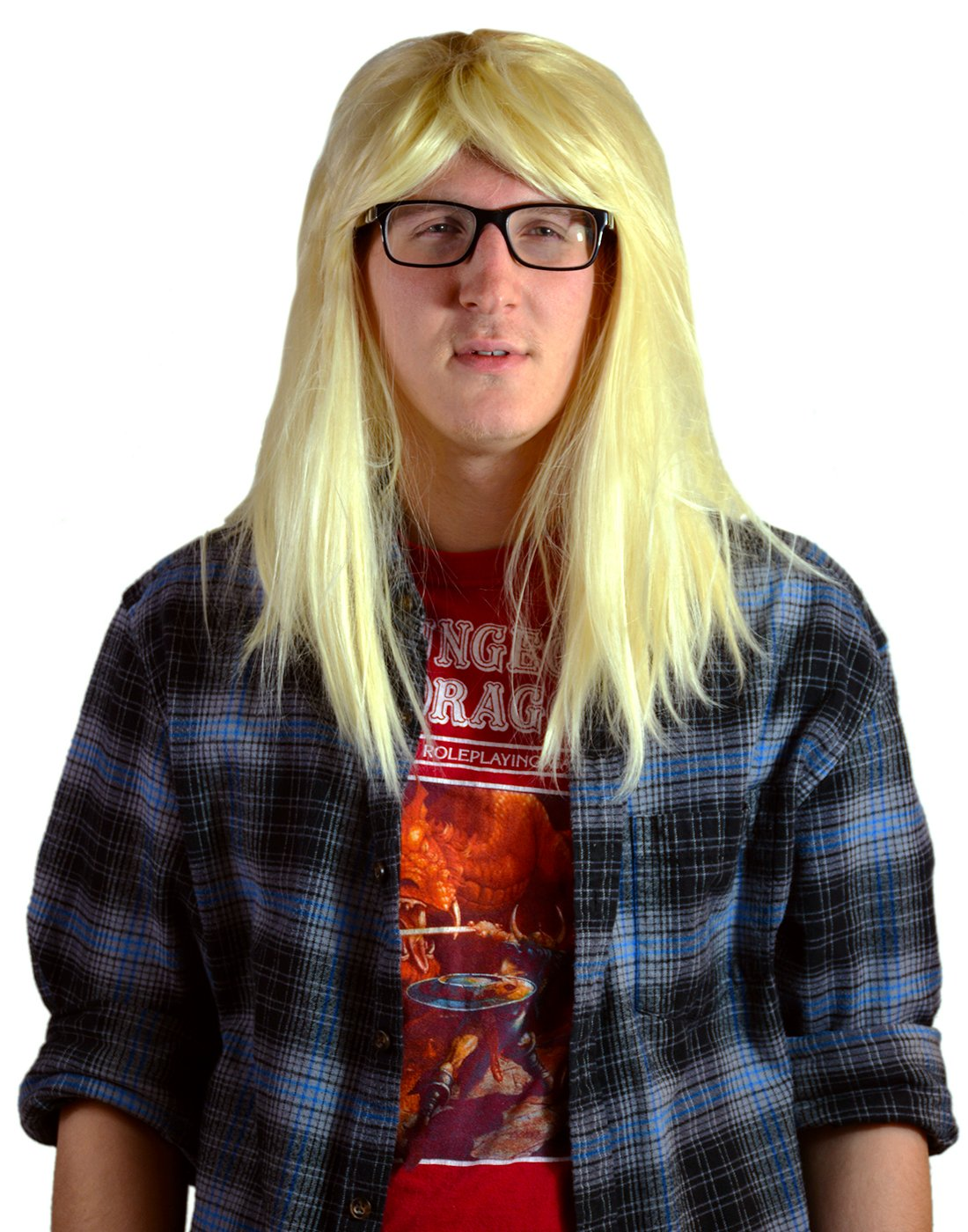 HDE Men's Blonde Wig Garth Long Hair Party On Halloween Costume Cosplay Accessory HDE-50033
