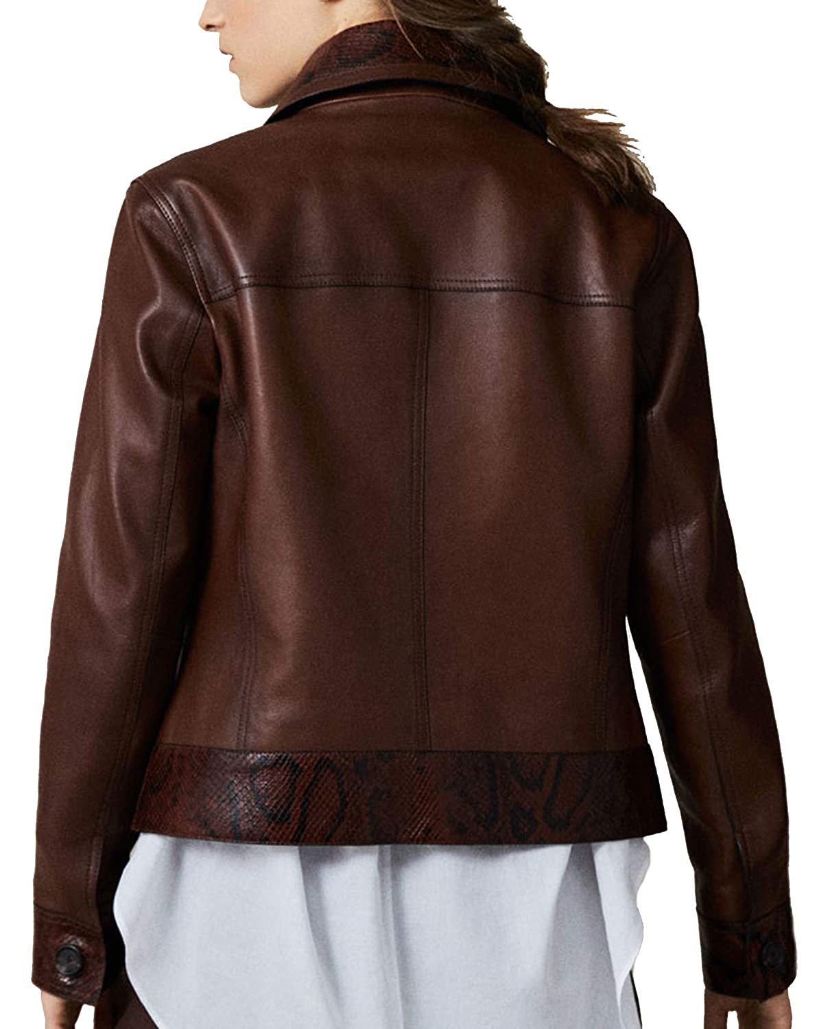9963087c4 MASSIMO DUTTI Women's Nappa Leather Jacket with Snakeskin Detail ...