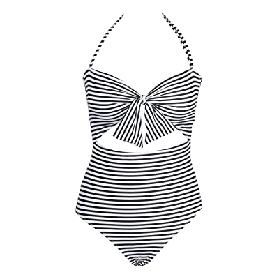 Cupshe Fashion Women's Stripe Cutout Halter One-piece Halter Padding Swimsuit