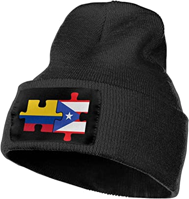 Unisex Irish Puerto Rico Flags Puzzle Outdoor Warm Knit Beanies Hat Soft Winter Knit Caps