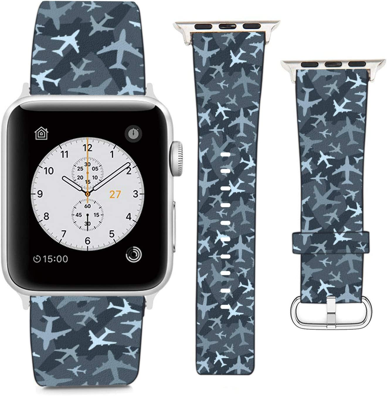 (Airplane Camouflage) Patterned Leather Wristband Strap Compatible with Apple Watch Series 5/4/3/2/1 gen,Replacement for iWatch 38mm / 40mm Bands
