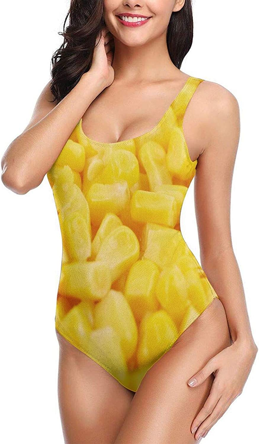One Piece Bathing Suits Sexy Swimsuits Swimwear for Women Teen Girls Unique Yellow Corn Funny Food