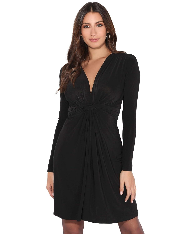 TALLA 40. KRISP Vestido Mujer Corto Talla Grande Boda Noche Manga Cóctel Fiesta Elástico Plisado Elegante Ceremonia Negro (9878) 40