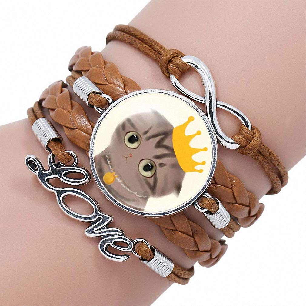 Womens Cute Cartoon Cat Picture White Color Leather Bracelet for Kids Cat Love Bracelets Bangles Best Gifts