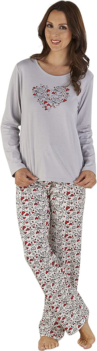 Ladies Womens Pink Fleece Grey Heart Loungewear Set ~ SIZE 12 14 16 18 20