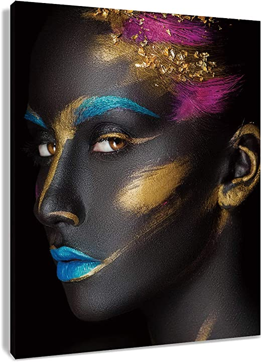 IMAGE OF WOMAN FACE COVERED IN GLITTER CANVAS PRINT WALL ART PICTURE PHOTO