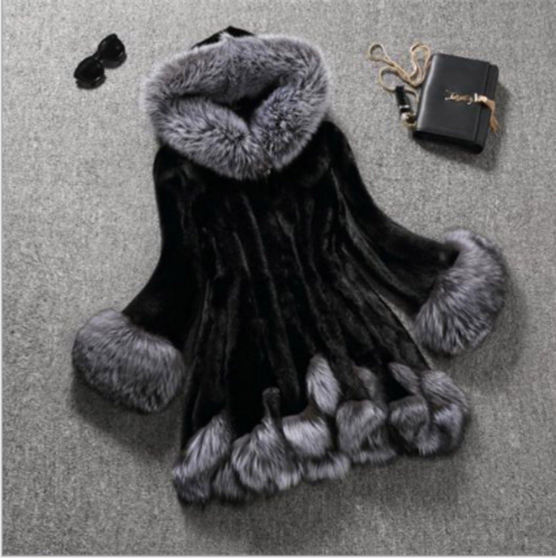 Huaishu Femmes Manteau de Fourrure dhiver Solide Simple /à Capuche /à Manches Longues Long Fausse Fourrure Veste Chaud Tops Manteau Pardessus Color : Black, Size : XXXXL